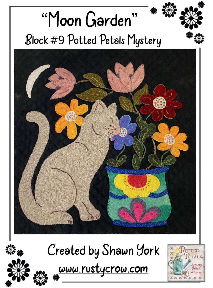 Moon Garden Potted Petal Mystery Block Wool Kit with Printed Pattern