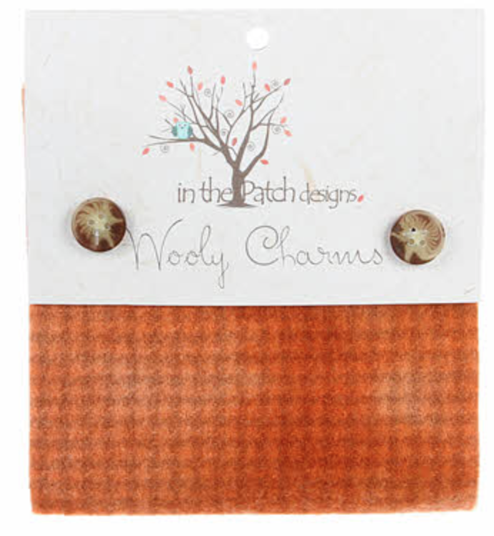 Wooly Charms Primitive Pumpkin WC4511 Hand Dyed 100% wool 5in X 5in 5 count