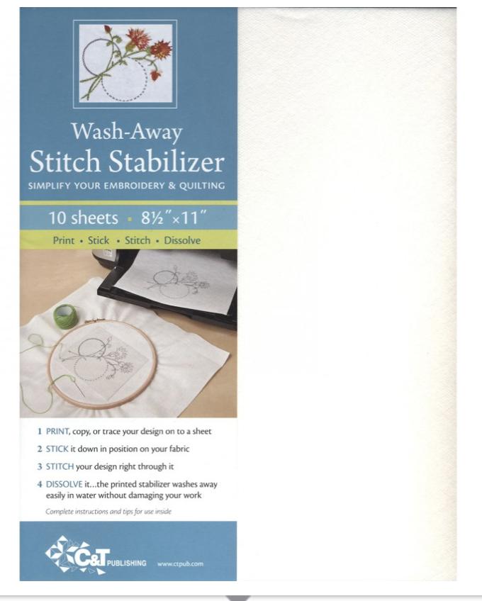 Wash-Away Stitch Stabilizer 10 Sheets 8.5  X 11
