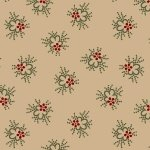 Antique Cotton R17 1742 0142 Tan Background with Red Flower