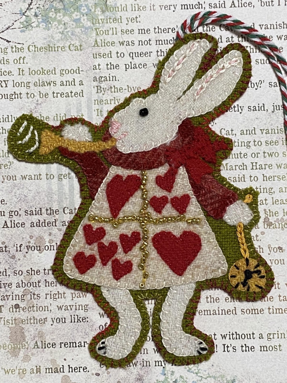 The White Rabbit A Very Merry UnChristmas Week #4 Wool Kit with Printed Pattern