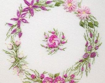 Spring WreathBrazilian hand embroidery