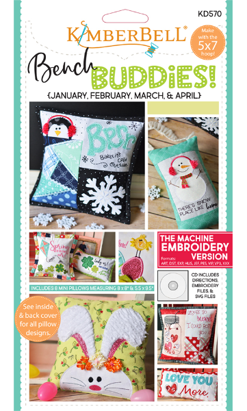 BENCH BUDDIES SERIES (JANUARY, FEBRUARY, MARCH, APRIL) MACHINE EMBROIDERY CD