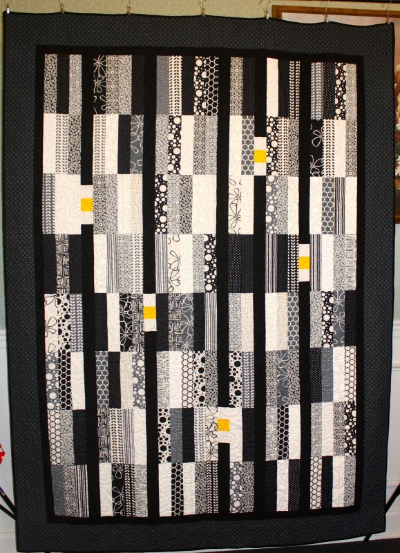 Black and White Strip Quilt