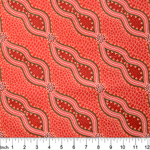 Bush Spinifex Tang Red Aboriginal Fabric