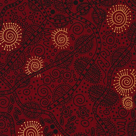 BUSH TUCKER RED  Aboriginal Fabric
