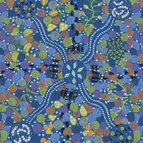 Corroboree Blue Aboriginal Fabric