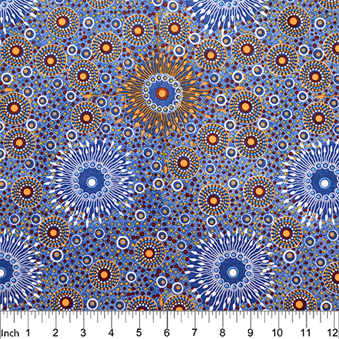 Onion Dreaming Copper Blue Aboriginal Fabric