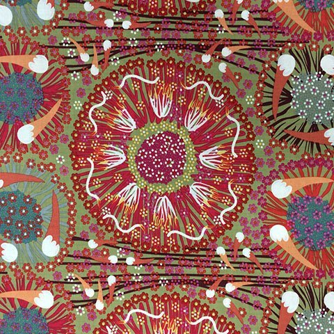 Plum & Bush Banana Green Aboriginal Fabric