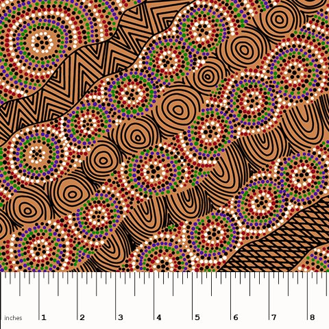 Salt Lake Yellow Aboriginal Fabric