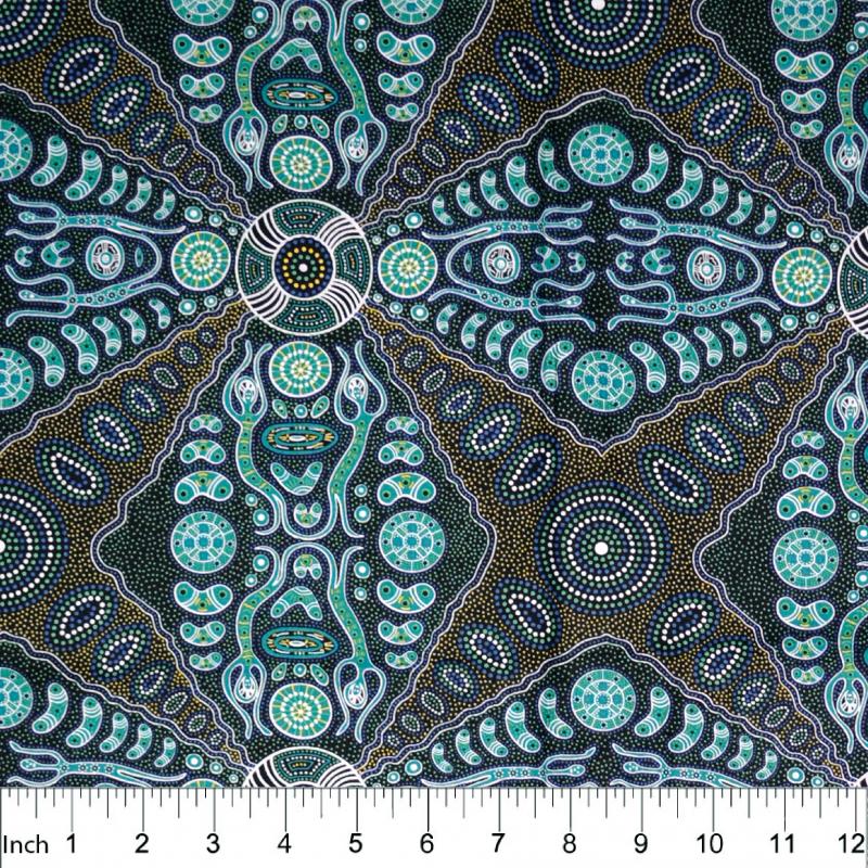 Spirit People 2 Green Aboriginal Fabric