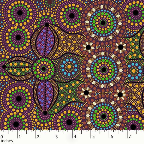 Spirit Place Burgundy Aboriginal Fabric
