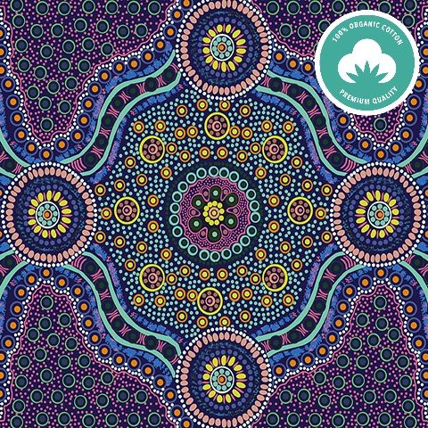 Wild Bush Flowers Purple Aboriginal Fabric