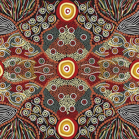 Wild Coconut Black Aboriginal Fabric