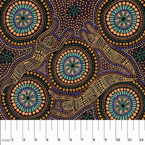 Winter Spirit Yellow Aboriginal Fabric