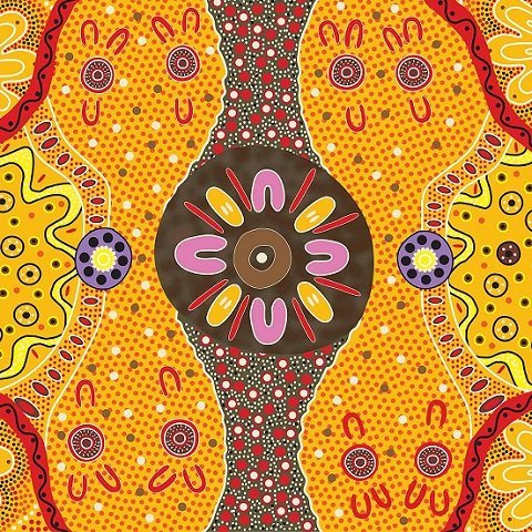 Women's Business Gold Aboriginal Fabric