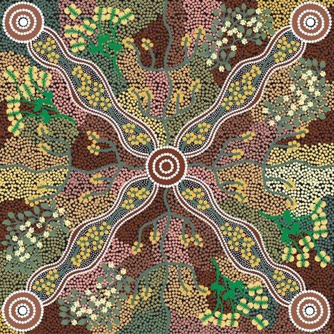 YUENDUMU BUSH TOMATO BLACK Aboriginal Fabric
