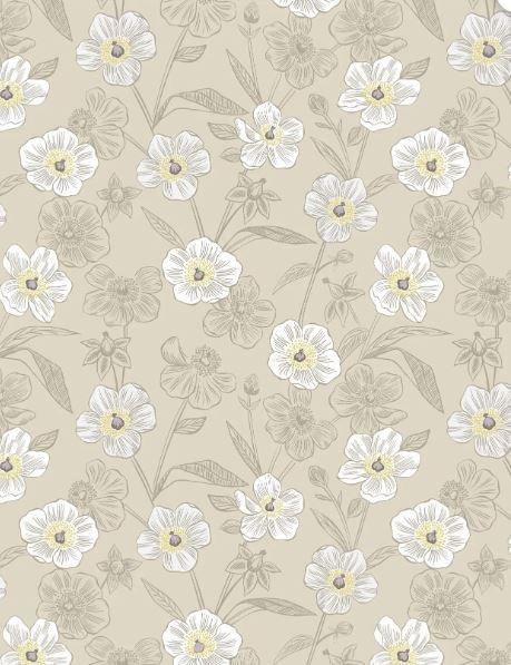 Rambling Floral on Dark Cream