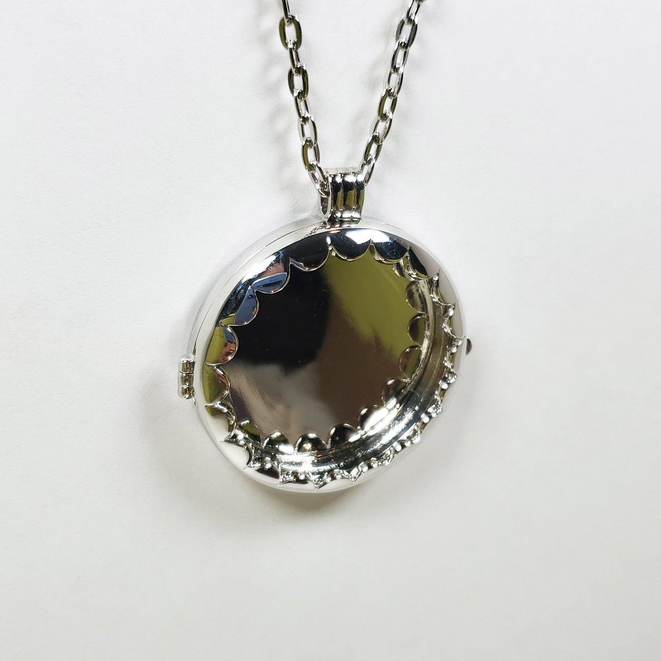 Fabric Locket Necklace Silver
