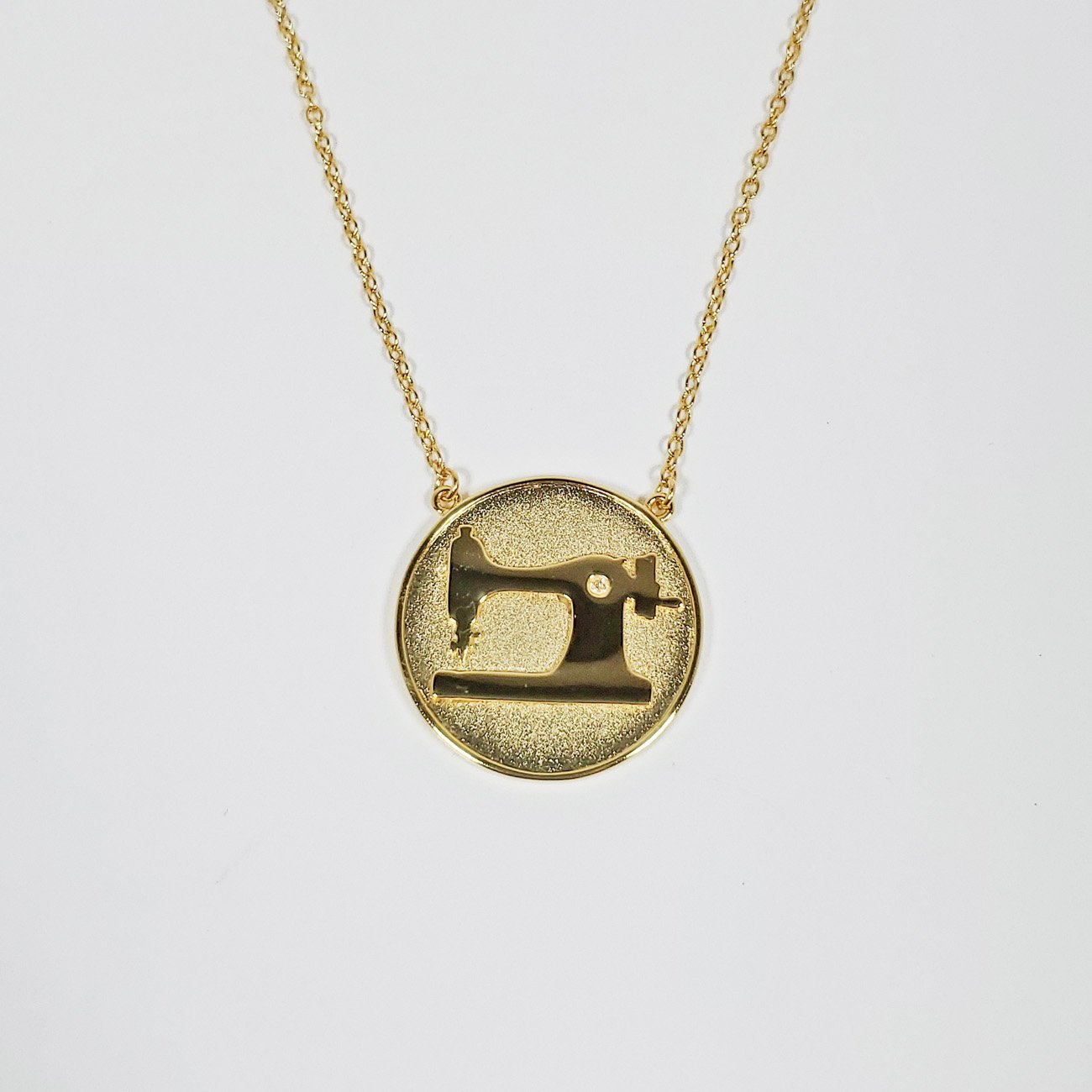 Sewing Machine Coin Necklace Gold