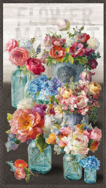 Flower Market Panel from Wilmington Prints