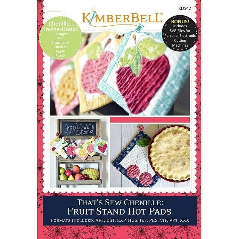 That's Sew Chenille Fruit Stand Hot Pads Kimberbell Designs Embroidery CD
