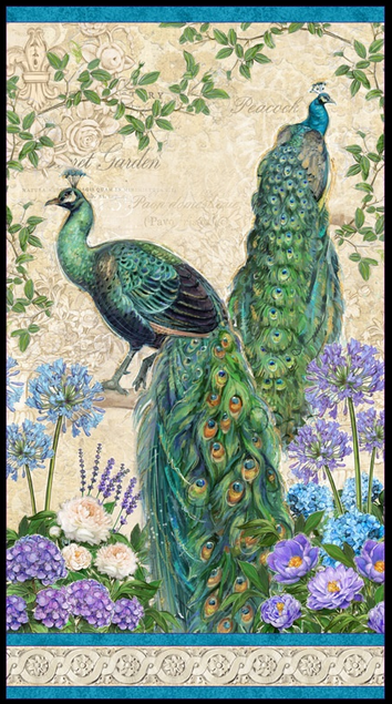Plumage Peacock Panel by Wilmington Prints