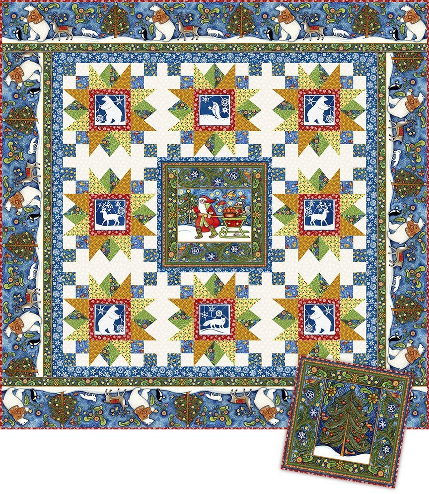 Snowy quilt and pillow kit