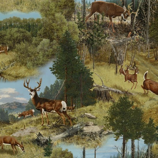 Deer Scene Green - Whitetail Ridge