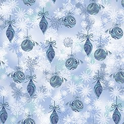 Blue Ornaments & Snowflakes - Winter Frost