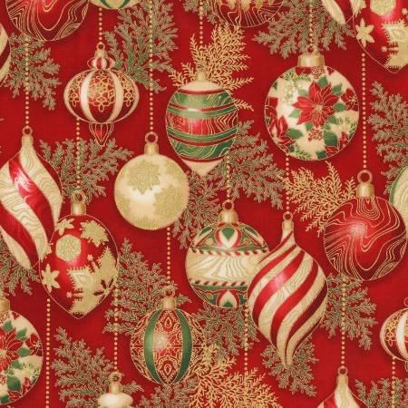 Crimson Ornaments w/Metallic - Holiday Flourish 11