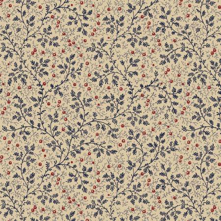 Navy Berry Vine 108in Quilt Back