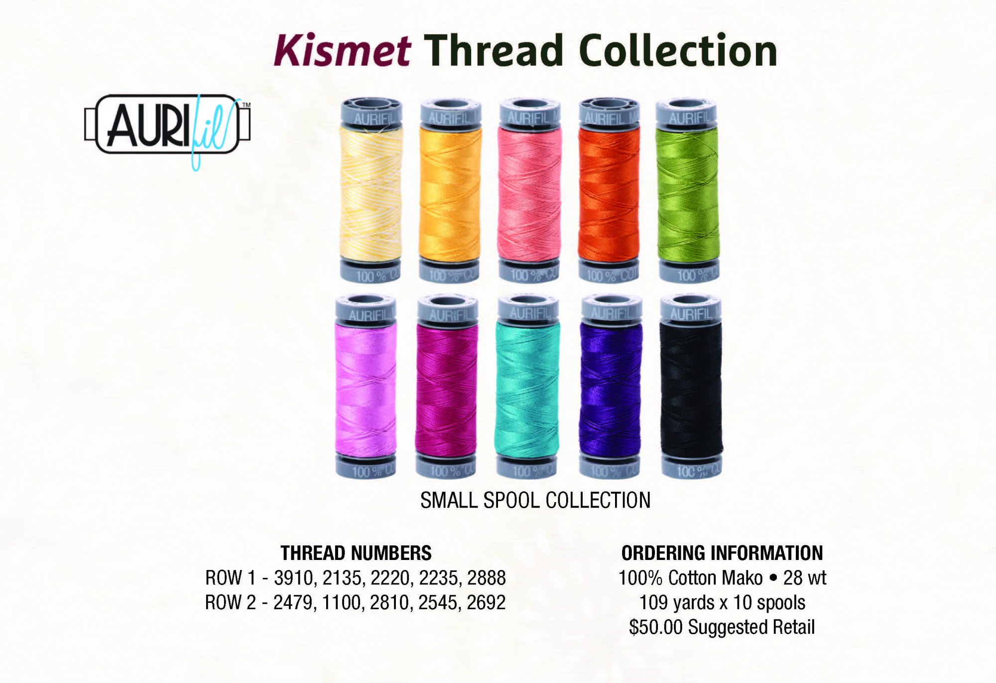 Kismet Aurifil 28wt Thread Collection