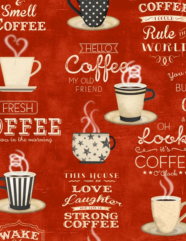 Coffee Time- Red Large Allover