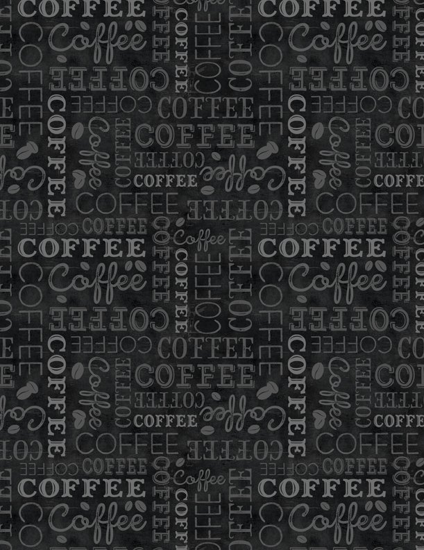 Coffee Time- Black Allover Words
