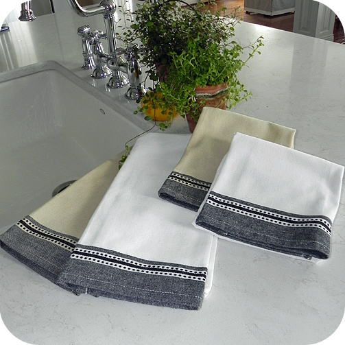 Dobby Border Kitchen Towel Wht/Blk