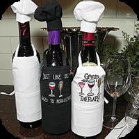 Wine Bottle Apron W/Hat White