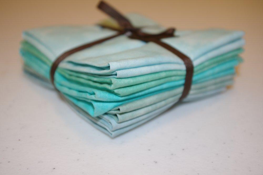 5 pc turquoise/green fat quarter bundle
