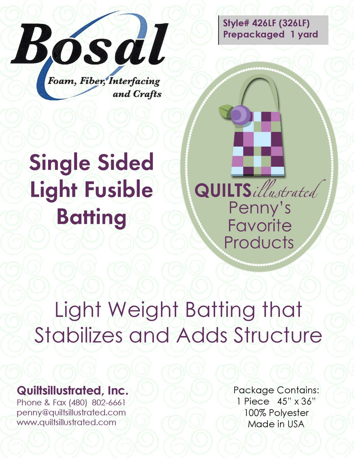Bosal 426LF(326LF) Light Fusible Batting, 1 yard package