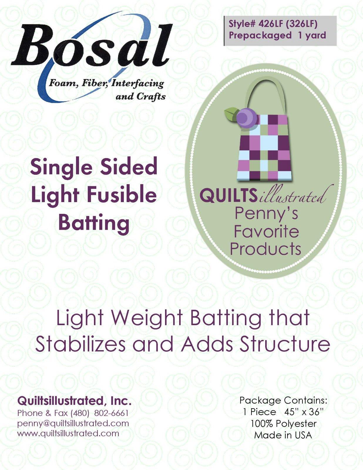 Bosal (326LF)426LF Light Fusible Batting, 1 yard package