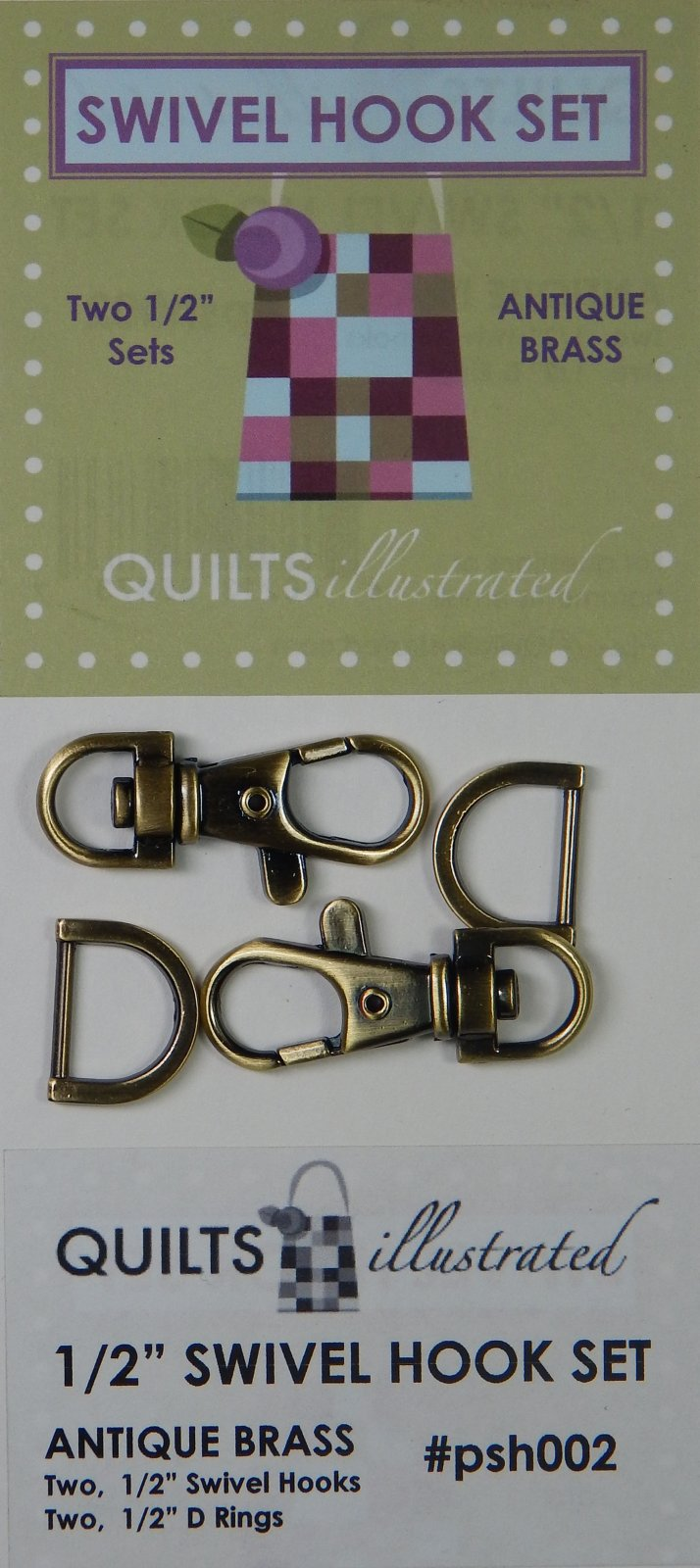 1/2 Swivel Hook Set - Antique Brass - psh002