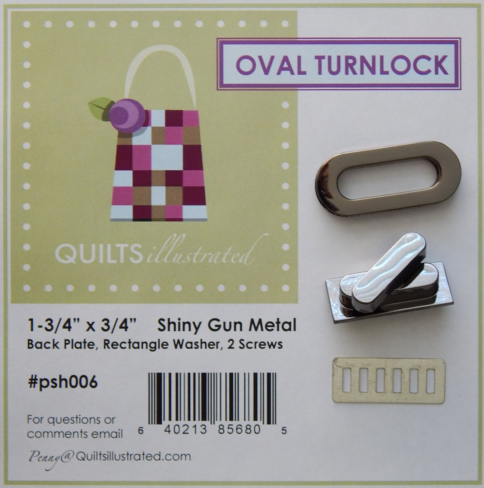 Oval Turnlock Set - Gun Metal (psh006)