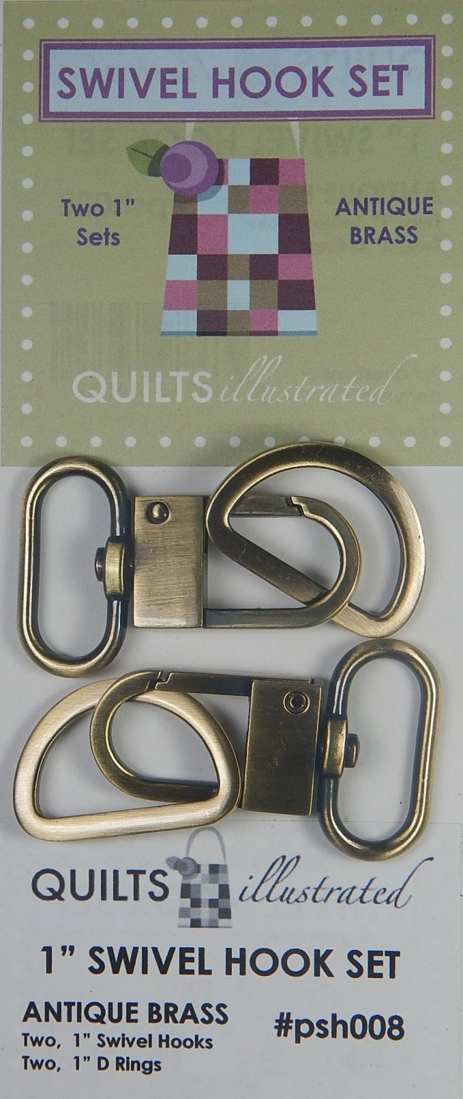 1 Swivel Hook Set - Antique Brass - psh008