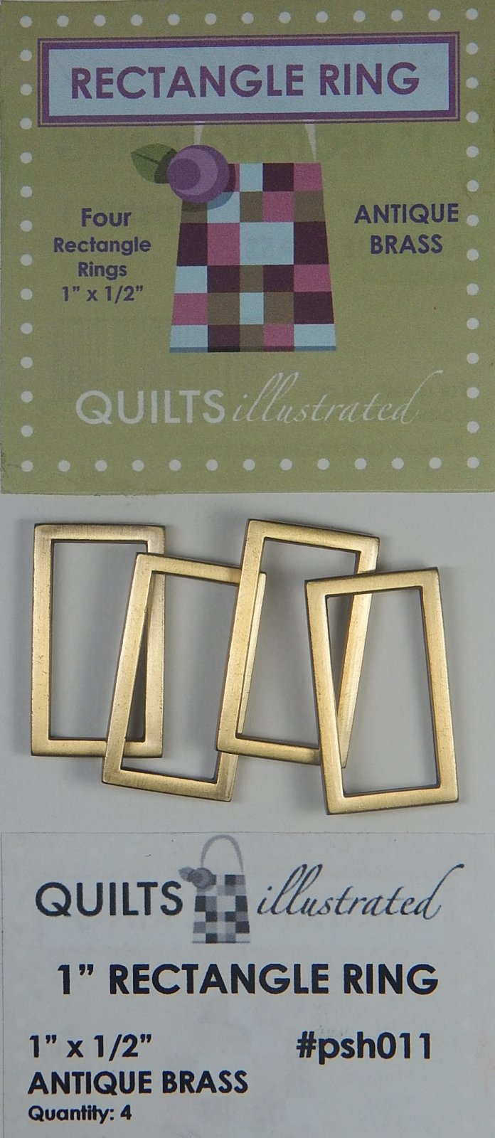 1 Rectangle Ring Set - Antique Brass - psh011