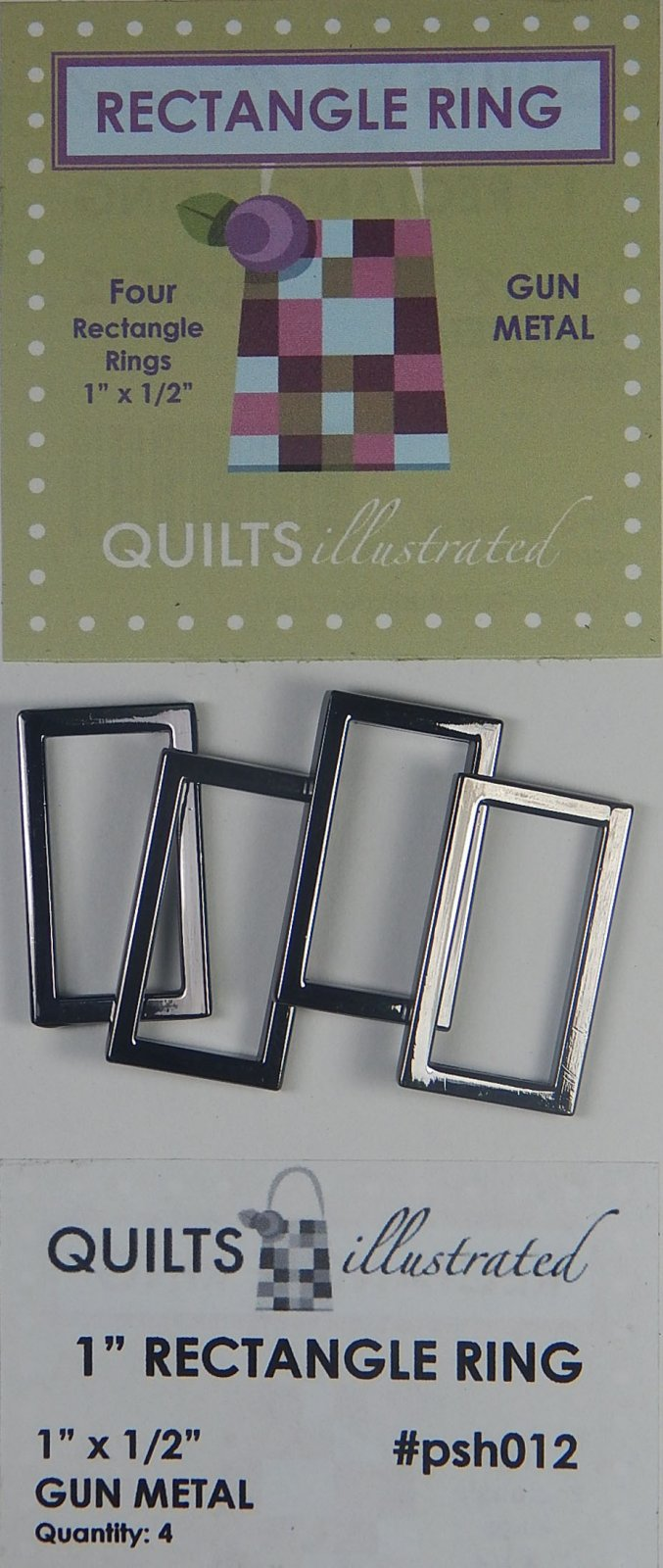 1 Rectangle Ring Set - Gun Metal - psh012