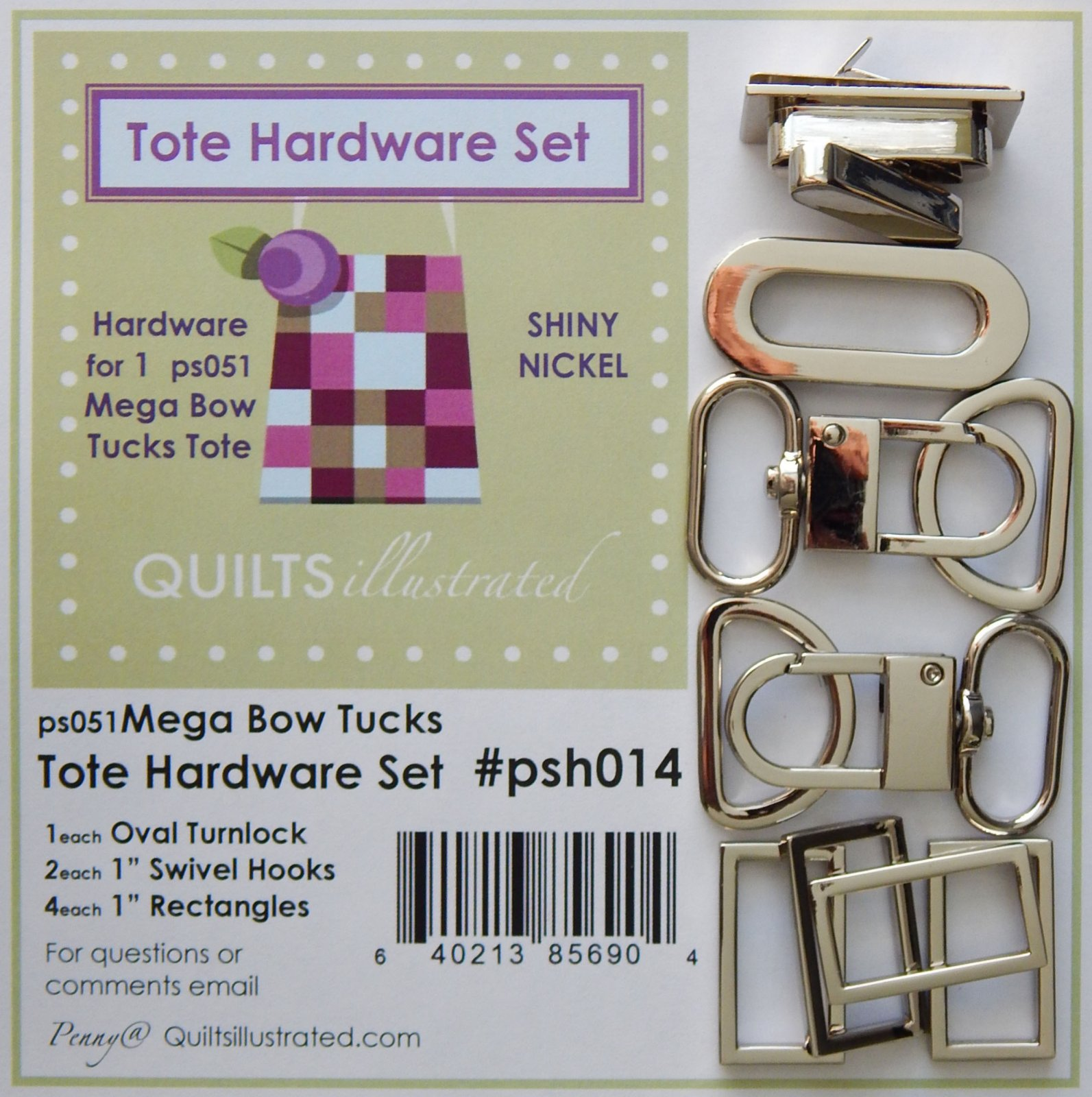 Tote Hardware Set- Shiny Nickel (psh014)