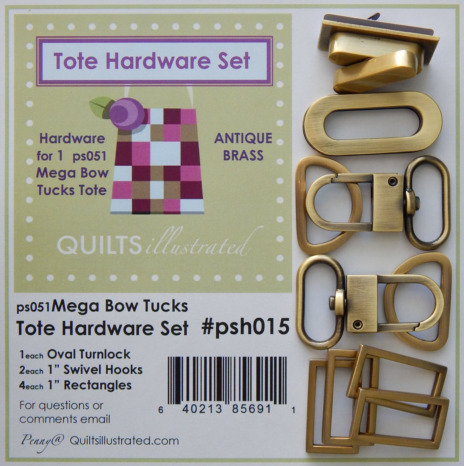 Tote Hardware Set- Antique Brass (psh015)