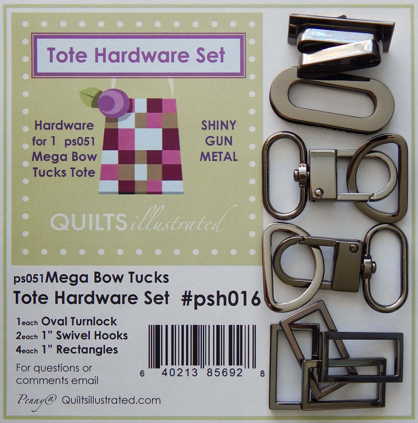 Tote Hardware Set- Shiny Gun Metal (psh016)