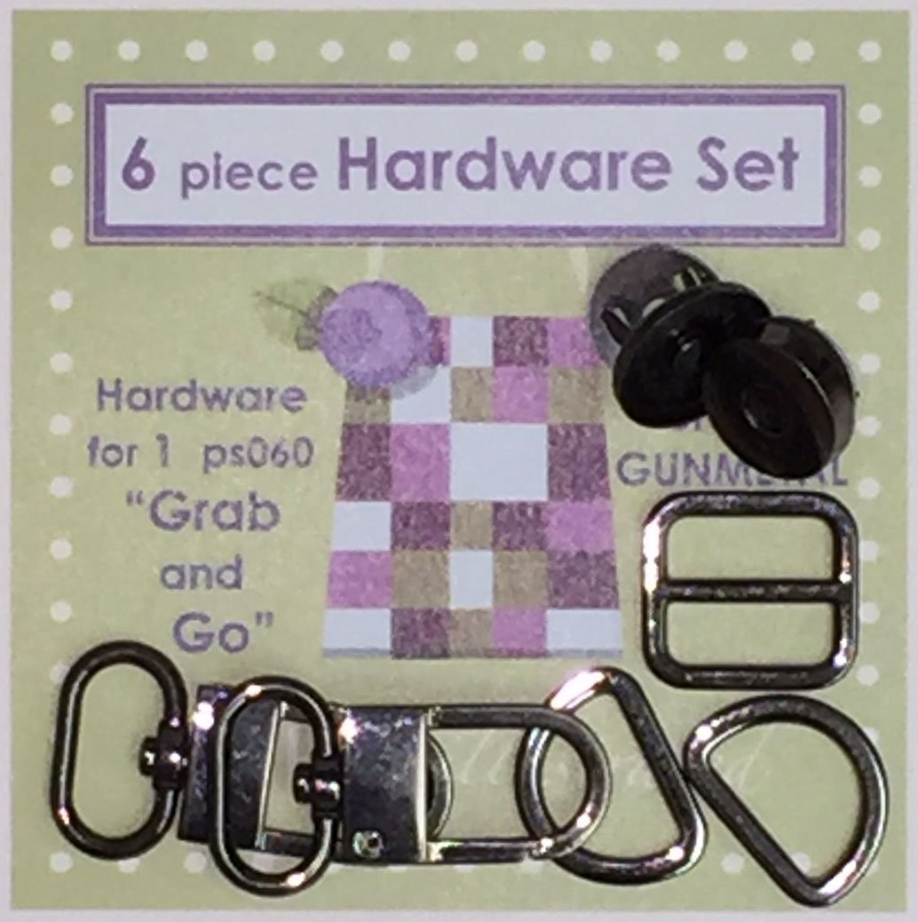 6 piece 3/4 Hardware Set--Shiny Gunmetal (psh026)