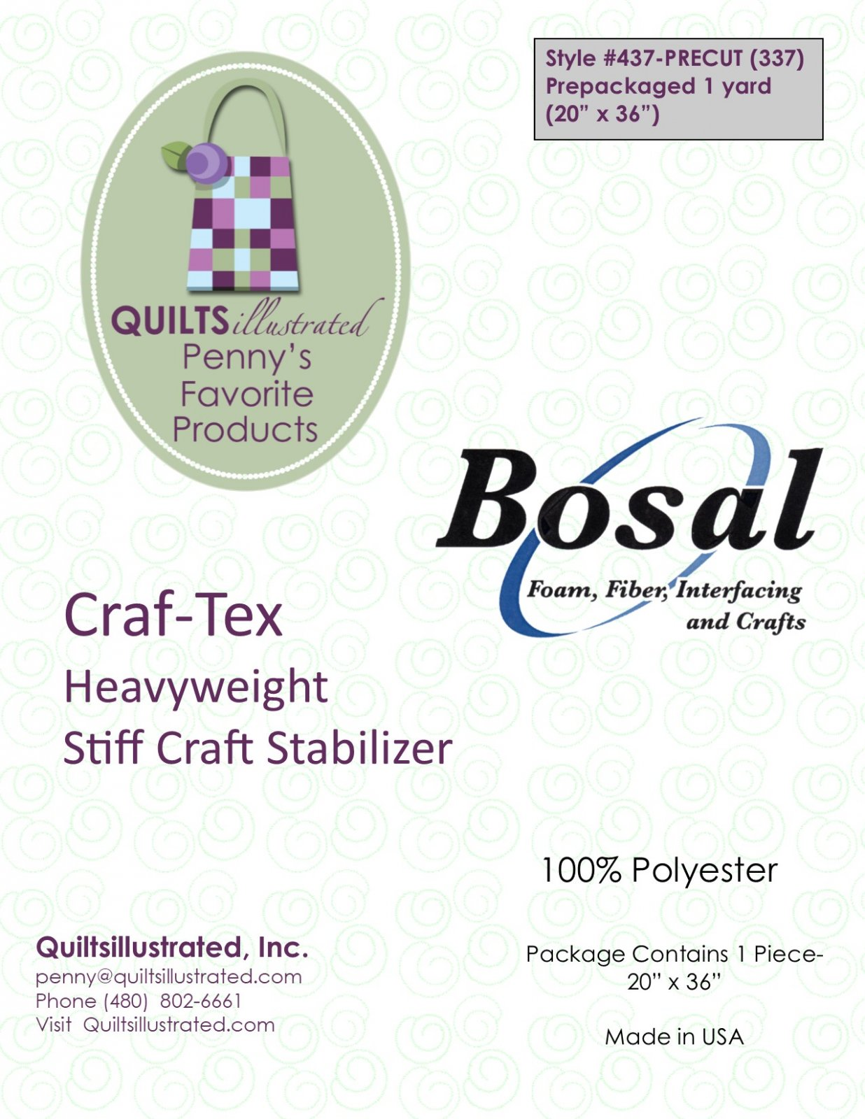Bosal 437(337) Craf-Tex Stabilizer, 1 yard package
